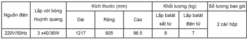 Máng đèn huỳnh quang âm trần 3 bóng 1m2 - FS 40/36 x 3 M6