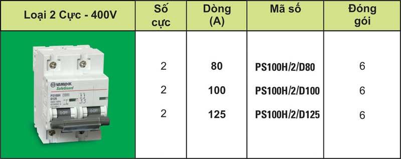 Cầu dao tự động 2 pha SAFEGUARD - PS100H/2/80, PS100H/2/100, PS100H/2/125