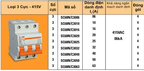 Cầu dao tự động - Aptomat 3 pha Sino - SC68N/C3006, C3010, C3016, C3020, C3025
