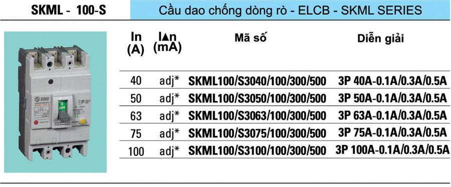 Cầu dao chống dòng rò (ELCB) Sino - SKML100 - S 40A, 50A, 63A, 75A, 100A