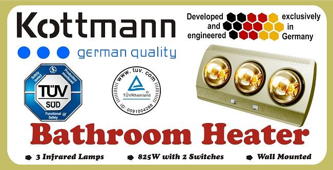 Đèn sưởi nhà tắm Kottmann 3 bóng dòng vàng (KOTT-GOLDEN) 825 W -  K3B-G