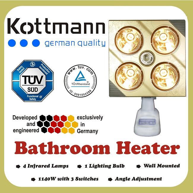 Đèn sưởi nhà tắm Kottmann 4 bóng dòng vàng (KOTT-GOLDEN) 1100 W -  K4B-Gbox