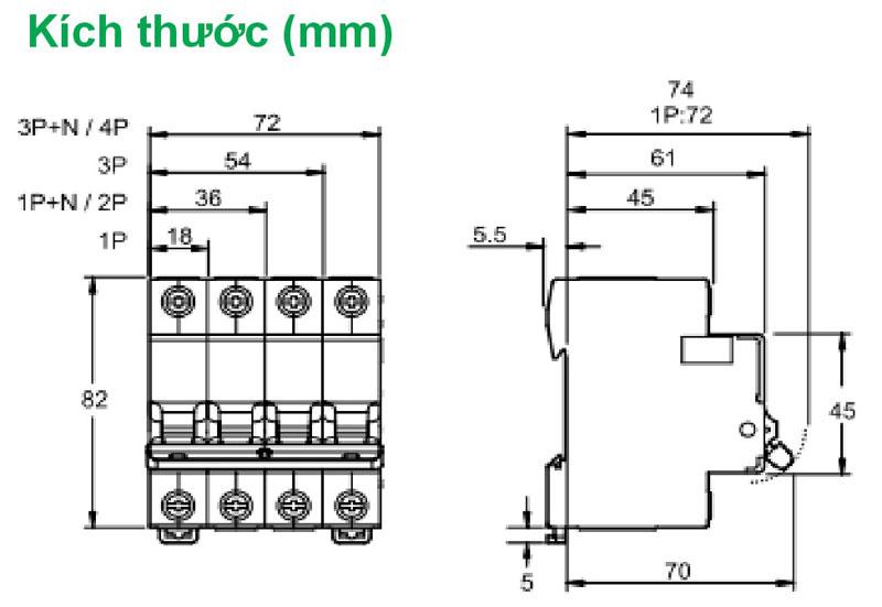 Kích thước Aptomat Schneider Easy 9  loại 1 pha 50A/ 63A ( EZ9F34150, EZ9F34163  )
