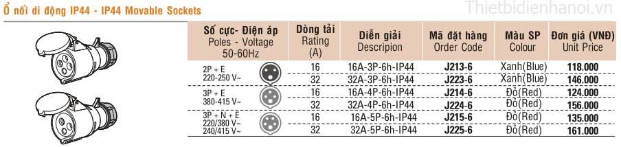 Bảng giá ổ nối di động IP44 dùng cho cuộn dây di động