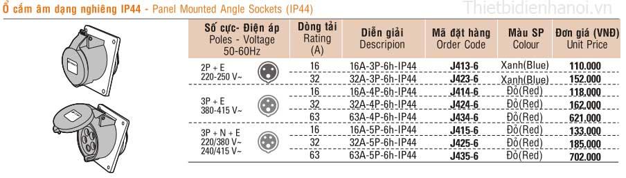 bảng giá ổ cắm công nghiệp sino, ổ cắm âm dạng nghiêng IP44